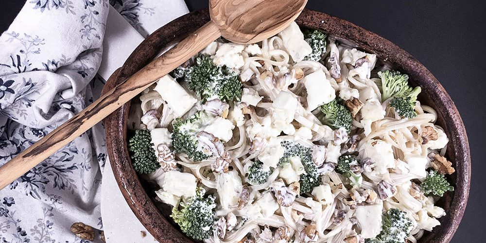 Herbst- Lunch: Walnuss- Fettuccine auf Brokkoli- Gorgonzola